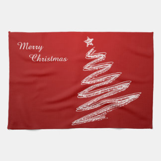 Merry Christmas Red Christmas Tree Tea Towel