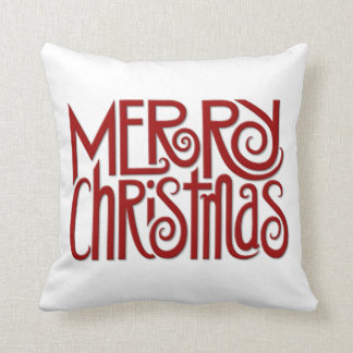Merry Christmas red Cushion Throw Pillow