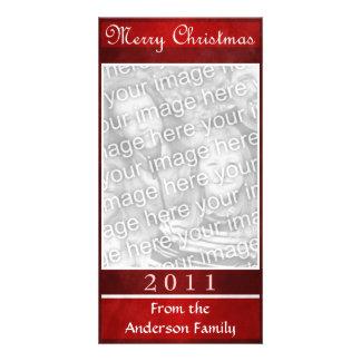 Merry Christmas Red Elegant Simple Custom Photo Card