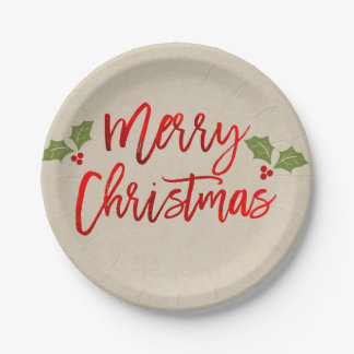 Merry Christmas Red Faux Foil Modern Script Kraft Paper Plate
