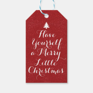 Merry Christmas Red Glitter Gift Tags
