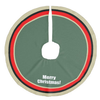 Merry Christmas Red Gold Green Circles Tree Skirt