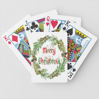 Merry Christmas red & green Bicycle Playing Cards