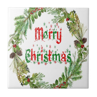 Merry Christmas red & green Ceramic Tile