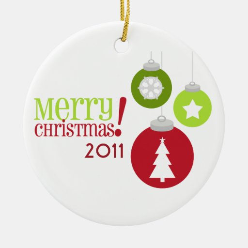 Merry Christmas Red & Green Decorations Ornament