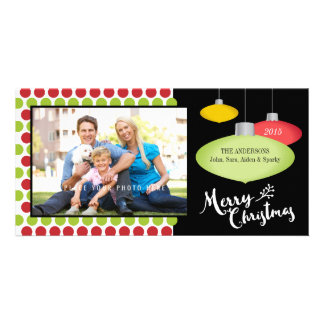 Merry Christmas, Red & Green Dots Photo Customized Photo Card