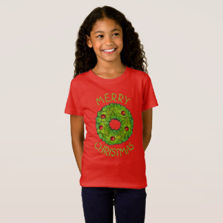 Merry Christmas Red Green Holly Wreath Xmas Cookie T-Shirt