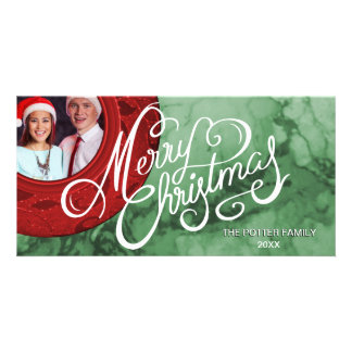Merry Christmas Red Green Marble Look Holiday Card