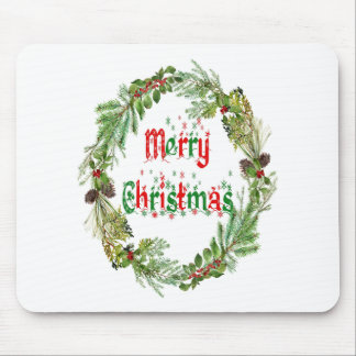 Merry Christmas red & green Mouse Pad