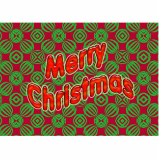 merry christmas red green photo sculpture magnet