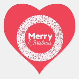 Merry Christmas Red Heart Sticker
