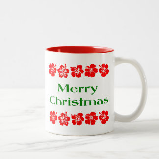 Merry Christmas Red Hibiscus Hawaiian Mug