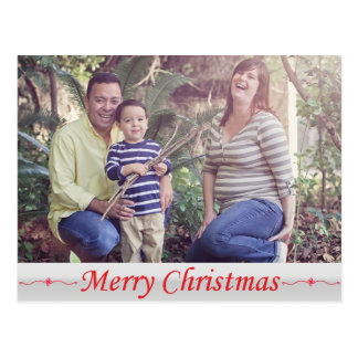 Merry Christmas Red Lettering Postcard