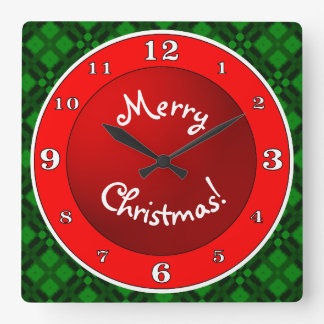 Merry Christmas Red n Green Square Wall Clock