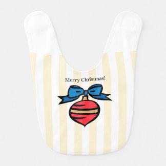 Merry Christmas Red Ornament Baby Bib Yellow