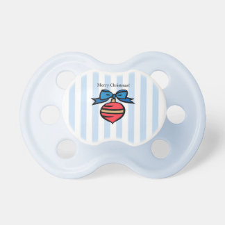 Merry Christmas Red Ornament Baby Pacifier Blue