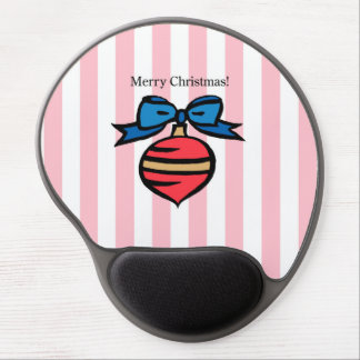 Merry Christmas Red Ornament Gel Mouse Pad Pink