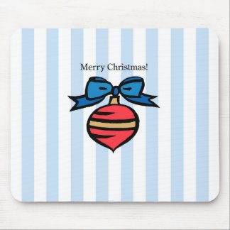 Merry Christmas Red Ornament Mouse Pad Blue