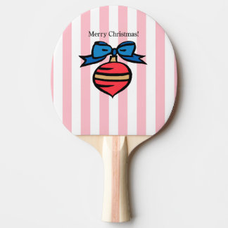 Merry Christmas Red Ornament Ping Pong Paddle Pink