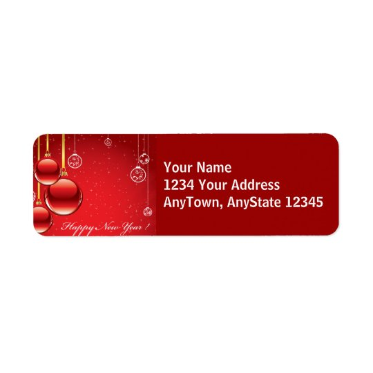 Merry Christmas Red Ornaments & Ribbons Template Return Address Label