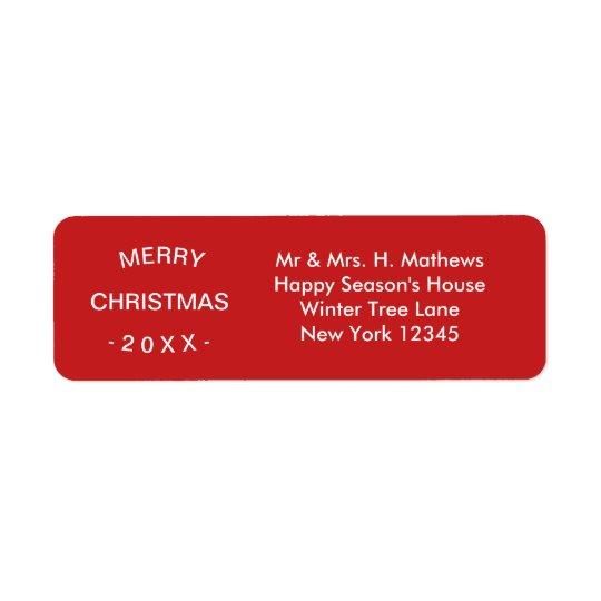 Merry Christmas | Red Return Address Label