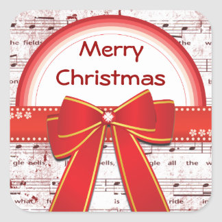 Merry Christmas red ribbon notes Sticker