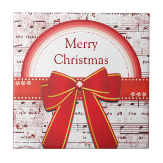 Merry Christmas red ribbon notes tile
