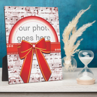 Merry Christmas red ribbon notesphoto plaquete Photo Plaque