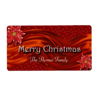 Merry Christmas Red Ribbon Poinsettia Wine Label Shipping Label
