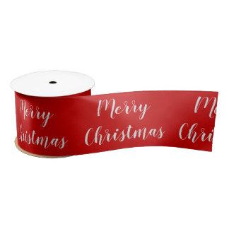 Merry Christmas Red Seasonal Greeting Custom Text Satin Ribbon
