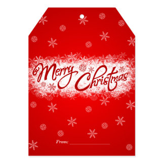 Merry Christmas red  snow 5x7 Invitation Tag