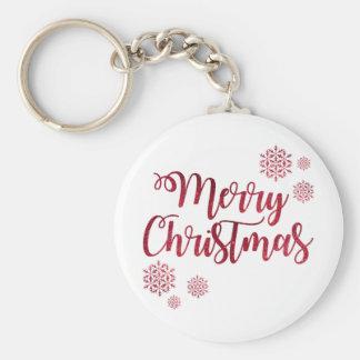 Merry Christmas Red Snowflake Key Ring