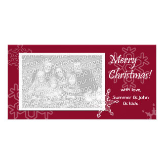Merry Christmas! Red Snowflake Photo Card