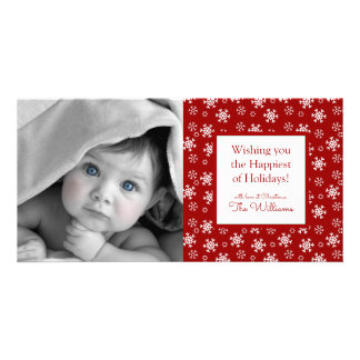 Merry Christmas | Red Snowflakes Card
