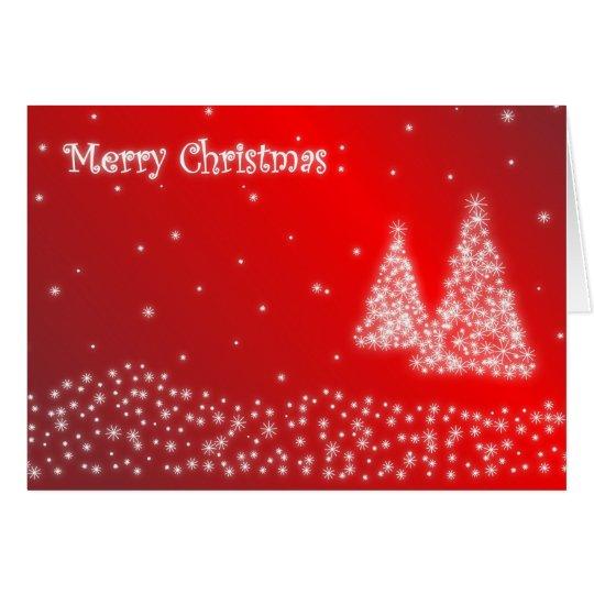 Merry Christmas Red Snowflakes Xmas Trees Card