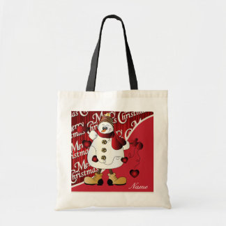 Merry Christmas Red Snowman Budget Tote Bag