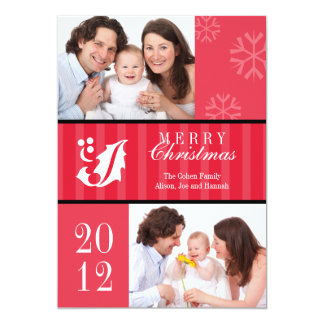 Merry Christmas red stripes holly leaf photo card 13 Cm X 18 Cm Invitation Card