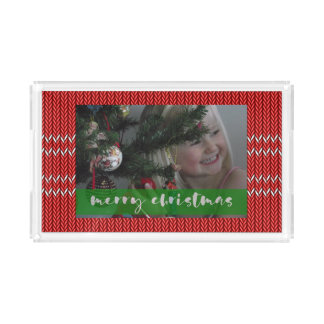 Merry Christmas Red Sweater Acrylic Tray