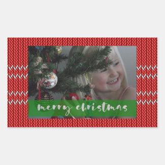 Merry Christmas Red Sweater Rectangular Sticker
