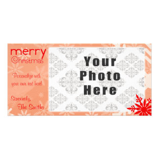 Merry Christmas Red Themed Snowflake Card