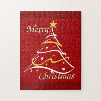 Merry Christmas Red Tree Puzzles