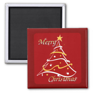 Merry Christmas Red Tree Square Magnet