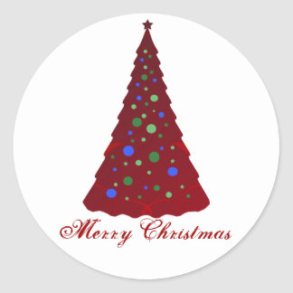 Merry Christmas, red tree with colourful bulbs Round Sticker