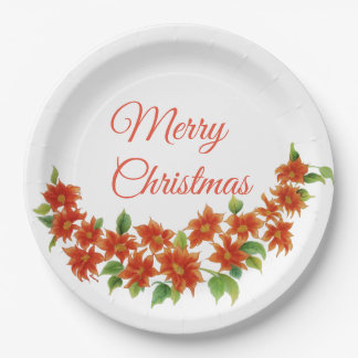 Merry Christmas Red Vintage Poinsettia Paper Plate