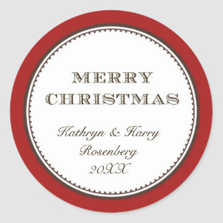 Merry Christmas red white elegant holiday gift tag Round Sticker