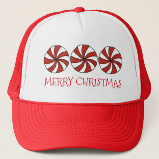 Merry Christmas Red White Peppermint Candy Mint Trucker Hat