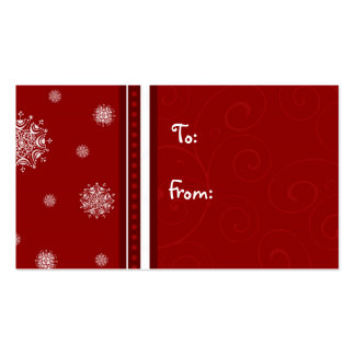 Merry Christmas Red White Snowflakes Gift Tags Business Card Templates