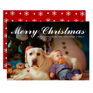 Merry Christmas Red & White Snowflakes | Photo Card