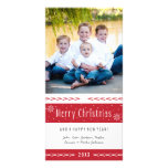 Merry Christmas Red White Stripes Personalized Photo Card