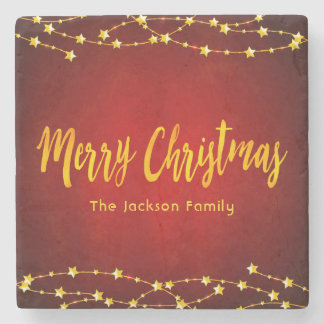 Merry Christmas red with stars family name Stone Coaster